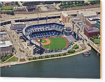 Pnc Park Aerial 2 Wood Print by Mattucci Photography