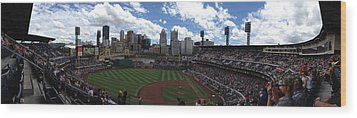 Pnc Park Wood Print by Shelley Johnsen