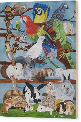 Pocket Pets Wood Print by Debbie LaFrance