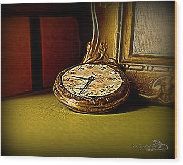 Pocket Watch Wood Print by Guy Hoffman