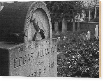 Poe's Original Grave Wood Print by Jennifer Ancker