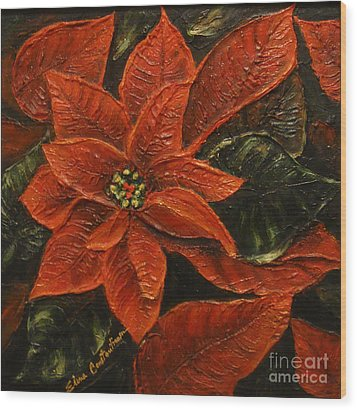 Poinsettia 2 Wood Print by Elena  Constantinescu