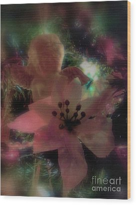 Wood Print featuring the photograph Poinsettia Angel by Roxy Riou
