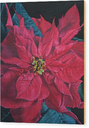 Poinsettia II Painting Wood Print by Marna Edwards Flavell