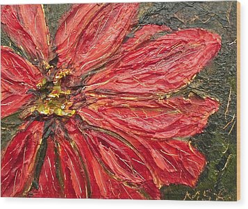 Poinsettia Sgraffito  Wood Print by Maria Soto Robbins