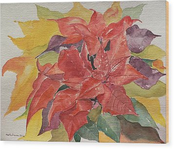 Wood Print featuring the painting Poinsettias by Geeta Biswas