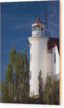 Point Betsie Lighthouse Michigan Wood Print by Adam Romanowicz