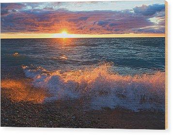 Point Betsie Sunset Wood Print by Craig Sterken