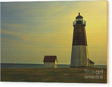 Point Judith Lighthouse Wood Print by Diane Diederich
