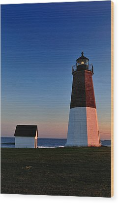 Point Judith- Sidelit At Sunset Wood Print by Thomas Schoeller