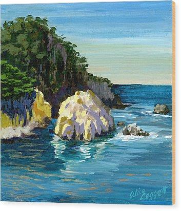 Point Lobos Rock Wood Print by Alice Leggett
