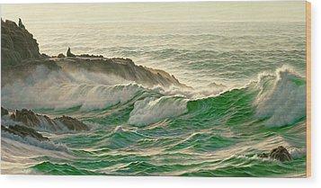 Point Lobos Surf Wood Print by Paul Krapf