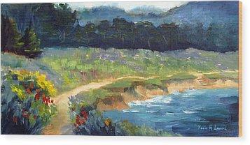 Point Lobos Trail Wood Print by Karin  Leonard