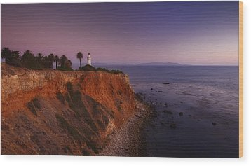 Point Vicente Lighthouse - Sunset Panorama - Rancho Palo Verdes Wood Print by Photography  By Sai