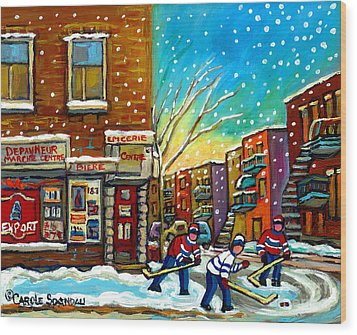 Pointe St. Charles Hockey Game At The Depanneur Montreal City Scenes Wood Print by Carole Spandau