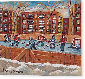 Pointe St. Charles Hockey Rink Southwest Montreal Winter City Scenes Paintings Wood Print by Carole Spandau