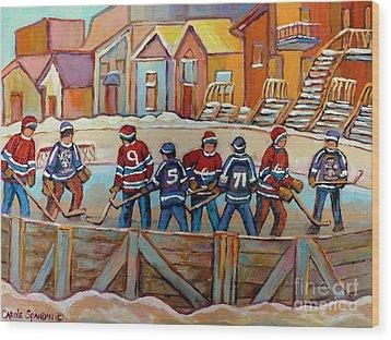 Pointe St. Charles Hockey Rinks Near Row Houses Montreal Winter City Scenes Wood Print by Carole Spandau