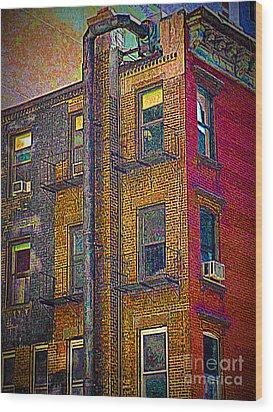 Pointillism In Steel And Brick Wood Print by Miriam Danar