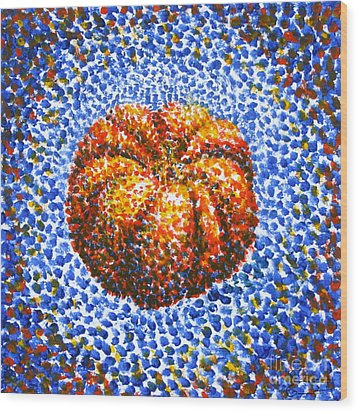 Pointillism Pumpkin Wood Print by Samantha Geernaert