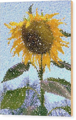 Pointillist Sunflower In Sun City Wood Print by Barbie Corbett-Newmin