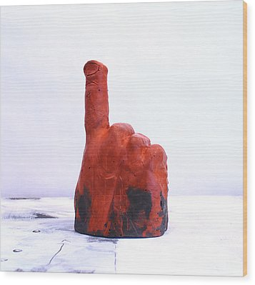 Pointing Finger Of Blame - Lava Wood Print by Mark M  Mellon