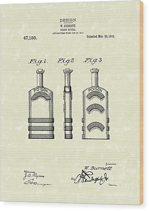 Poison Bottle 1915 Patent Art Wood Print by Prior Art Design