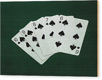 Poker Hands - Straight Flush 1 Wood Print