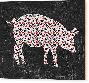 Poker Pig Wood Print by Flo Karp
