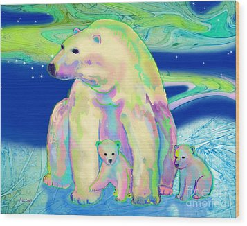 Wood Print featuring the painting Polar Bear Aurora by Teresa Ascone