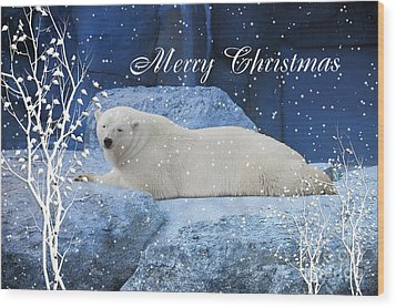 Polar Bear Christmas Greeting Wood Print