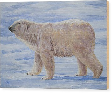Polar Bear Mini Painting Wood Print by Crista Forest