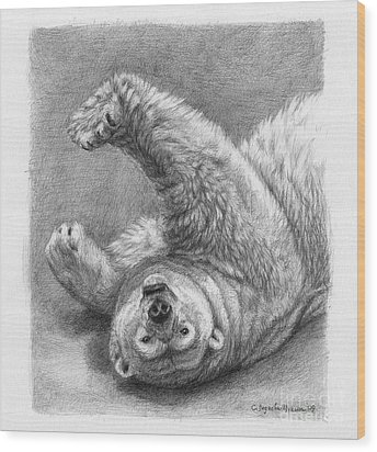 Polar Bear Stretch Wood Print by Svetlana Ledneva-Schukina