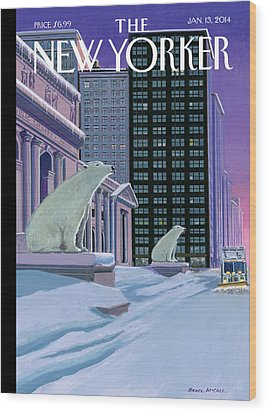 Polar Bears Sit Outside The New York Public Wood Print