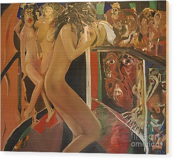 Pole Dancers And Their Admirers Wood Print