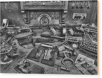 Police - Behind The Front Desk Black And White Wood Print by Lee Dos Santos