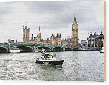 Police Boat On The River Thames Outside Parliment Wood Print by Fizzy Image