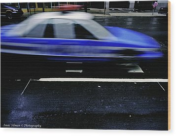 Police Chase Wood Print by Isaac Silman