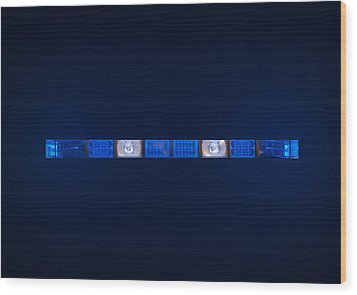 Police Emergency Lights With Blue Surrounding Light Wood Print by Fizzy Image