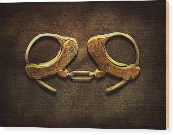 Police - Handcuffs Aren't Always A Bad Thing Wood Print by Mike Savad