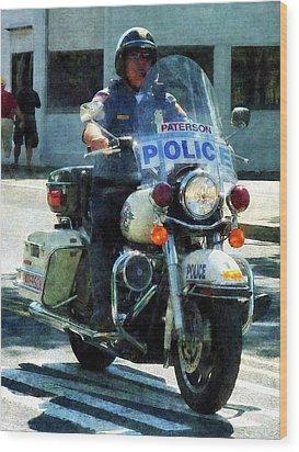 Police - Motorcycle Cop Wood Print by Susan Savad
