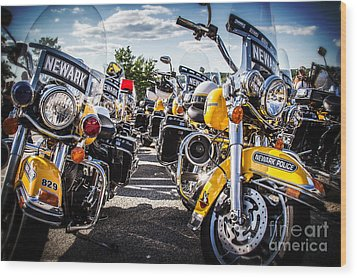 Police Motorcycle Lineup Wood Print by Eleanor Abramson