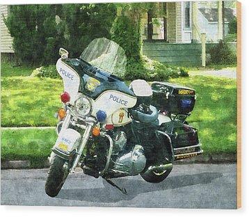 Police - Police Motorcycle Wood Print by Susan Savad