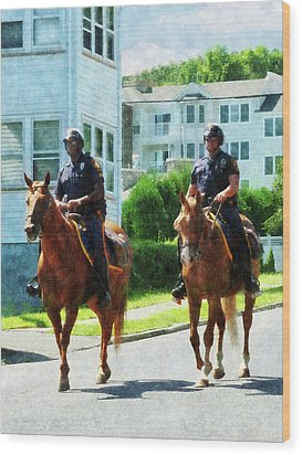 Police - Two Mounted Police Wood Print by Susan Savad