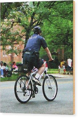 Policeman - Police Bicycle Patrol Wood Print by Susan Savad