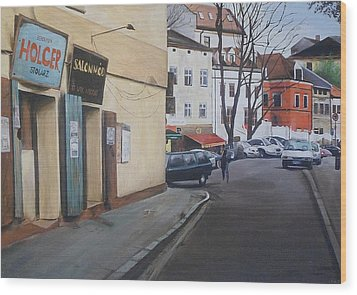 Wood Print featuring the painting Polish Street by Cherise Foster