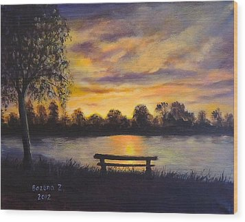 Wood Print featuring the painting Polish Sunset by Bozena Zajaczkowska