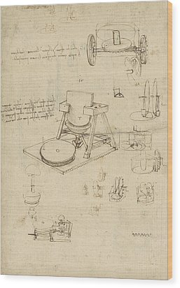Polishing Machine Formed By Two Wheeled Carriage From Atlantic Codex Wood Print by Leonardo Da Vinci