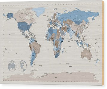 Political Map Of The World Wood Print by Michael Tompsett