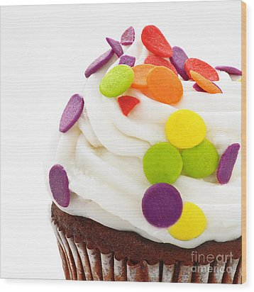 Polka Dot Cupcake Wood Print by Andee Design