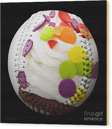 Polka Dot Cupcake Baseball Square Wood Print by Andee Design